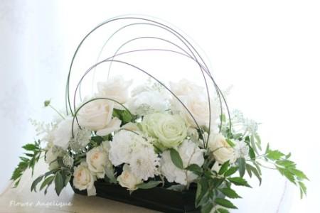 フラワーアレンジメント 薔薇 白 バラ