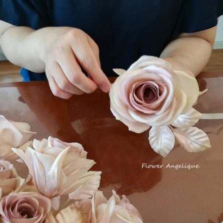 布花 薔薇 リース レッスン