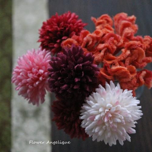 布花 ピンポンマム けいとう 成人式 髪飾り レッスン 神戸 フラワーアンジェリク
