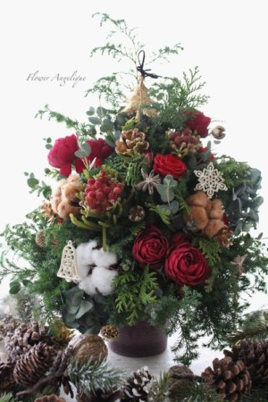フレッシュフラワー 生花 クリスマス ツリー 1dayレッスン 神戸 大阪 フラワーアンジェリク