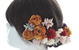 布花 成人式 髪がさり ドライフラワー風 薔薇 ばら あじさい オーダー 神戸 フラワーアンジェリク